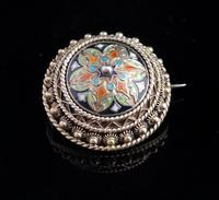 Antique Champleve enamel brooch
