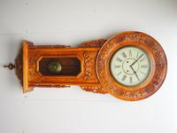 Massive Rare Antique Carved Walnut 8-Day Drop Dial Striking Wall Clock (11 of 14)