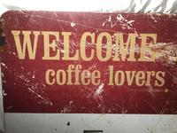 Vintage English Original Enamel Metal Welcome Coffee Lovers Double Sided Shop Sign (8 of 21)