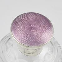Silver, Lilac Guilloche Enamel & Cut Glass Scent Bottle (3 of 12)