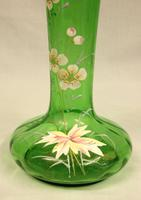 Antique Decorated Green Glass Shaped Vase (6 of 6)