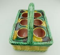 Attractive Novelty Majolica Pottery Eggery / Egg Stand Basket 19th Century (4 of 5)