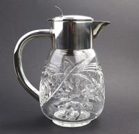 Substantial WMF Deep Cut Glass & Silver Plate Cooling Lemonade Jug c.1935