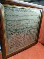"""Large Antique Needlework Sampler 1837 Elizabeth Starkey. in Frame 20"""" x 20"""" (12 of 12)"""