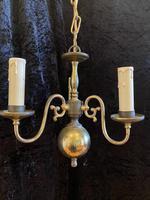 Small Three Light Dutch Antique Chandelier