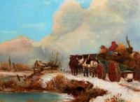 'The Loggers Return Home' Superb Antique Winter Landscape Oil on Canvas Painting (5 of 12)