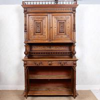 Large German Carved Walnut Bookcase Cabinet 19th Century (7 of 14)