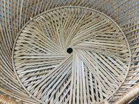 Vintage Boho Mid 20th Century Rounded Peacock Rattan Chair with Cushion (9 of 15)
