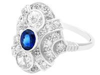 0.63ct Sapphire & 1.64ct Diamond, 18ct White Gold Dress Ring c.1935 (3 of 9)