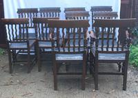 1910's Dark Oak Set of 10 Carved Dining Chairs with Pop out Seats. 8+2 Carvers (2 of 5)