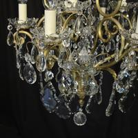French Gilded & Crystal 10 Light Birdcage Antique Chandelier (5 of 10)