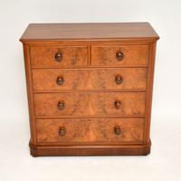 Antique Victorian Burr Walnut Chest of Drawers (4 of 9)