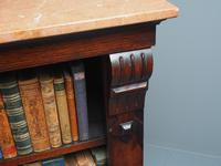 William IV Rosewood and Pink Marble Top Open Bookcase (6 of 13)
