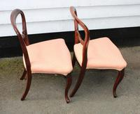 1900s Pair of Mahogany Cab Leg Chairs Pale Pink Upholstery (3 of 4)