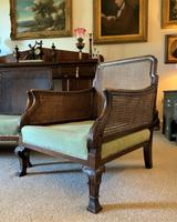 19th Century Antique Mahogany Upholstered 3 Piece Bergere Sofa Suite Armchairs Settee (8 of 15)