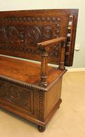 Antique Carved Oak Monks Bench Hall Seat Settle (4 of 11)