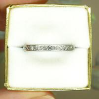 Antique Art Deco platinum diamond full eternity wedding band c1920's ~ Size Q / 8 (2 of 10)