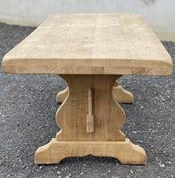 Bleached Oak Trestle End French Farmhouse Dining Table (16 of 22)