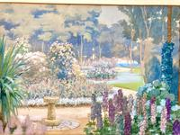 Stunning Vintage Watercolour Landscaped Formal Stately House Country Garden c.1920