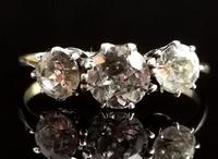 Antique Three Stone Paste Ring, 18ct Gold & Silver (2 of 11)