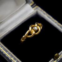 Antique Old Cut Diamond Lovers Knot 18ct 18k Yellow Gold Ring Band (2 of 10)