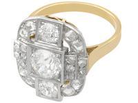 2.65ct Diamond & 18ct Yellow Gold, Platinum Set Dress Ring - French c.1925 (4 of 9)