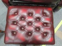 Red Leather Chesterfield Stool (2 of 2)