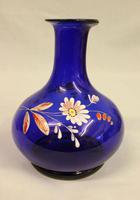 Antique Bristol Blue Decorated Glass Vase (2 of 5)