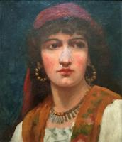 Fine Original 19th Century Antique Portrait Oil Painting of a Stunning Young Gypsy Girl (2 of 11)