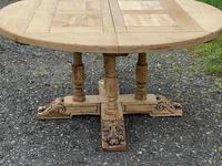 Large Round French Bleached Oak Farmhouse Table with Extensions (23 of 38)