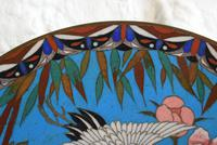 Antique Chinese Large Cloisonne Dish Decorated With Two Storks in Flight (7 of 10)