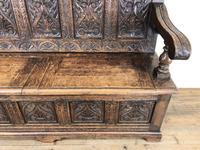 Antique Victorian Carved Oak High Back Settle (10 of 15)