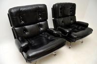 Pair of Vintage Leather / Chrome Armchairs & Ottoman by Howard Keith (6 of 16)