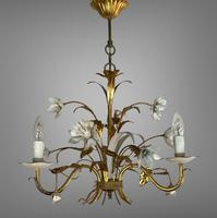 Pair of Vintage French 3 Arm Gilt Toleware Ceiling Light Chandeliers (7 of 10)
