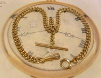 Antique Pocket Watch Chain 1890 Victorian 12ct Rose Gold Filled Albert With T Bar (2 of 12)