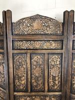 Vintage Indian Hardwood Three Panel Screen Room Divider (m-1806) (4 of 10)
