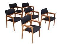 Danish design, Bjerringbro Savværk Møbelfabrik, 1970s, set of 6 dining armchairs, reupholstered