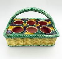 Attractive Novelty Majolica Pottery Eggery / Egg Stand Basket 19th Century (2 of 5)