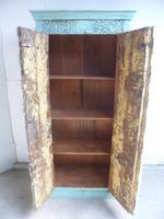 Handmade Indian Mango & Teak Large Painted Light Green 2 Door Storage Cupboard (10 of 11)