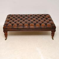 Large Antique Victorian Style Deep Buttoned Leather Stool / Coffee Table (2 of 9)
