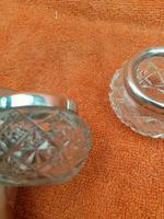 Antique Sterling Silver Cut Glass Salts Cellars 1906 Duncan & Scobbie  Birmingham (7 of 9)