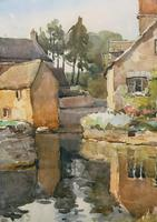 Gorgeous Early 20th Century Country River Hamlet British Landscape Watercolour Painting (9 of 12)