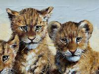 Exceptional 'pride Of Lion Cubs' Large Wildlife Oil Painting By 'silvia Duran' (8 of 12)