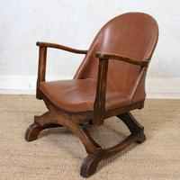 Carved Oak Leather Bucket Sofa & Chair (19 of 24)