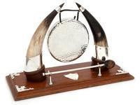 Cow Horn & Oak Decorative Gong with Original Striker (2 of 4)