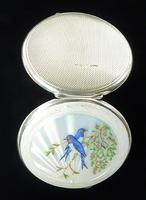 Sterling Silver Blue Bird Guilloche Enamel Compact Mirror (2 of 7)