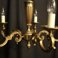 French Gilded Bronze 5 Light Chandelier (3 of 7)