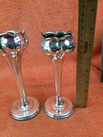 Pair of Antique Sterling Silver Hallmarked Tulip Vases 5 Inch 1904 Joseph Gloster (9 of 11)