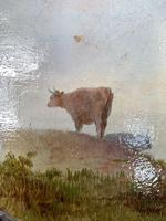 Antique Victorian river landscape oil painting study of cows 1 of 2 (5 of 10)