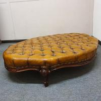 Deep Buttoned Leather Rosewood Stool (7 of 8)
